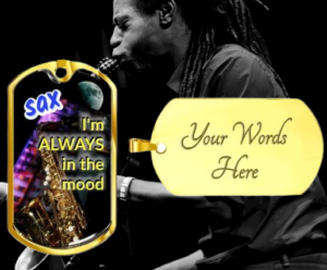 Dog tag necklaces for sax players ♫ Personalized necklaces ♫ Gifts for musicians and music lovers