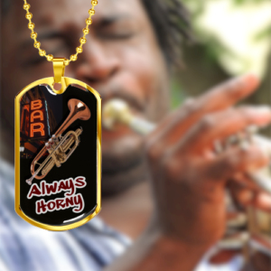 Personalized Dog Tag Necklace For Trumpet Players